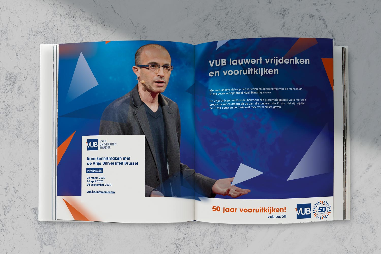 mockup van advertentie VUB in magazine