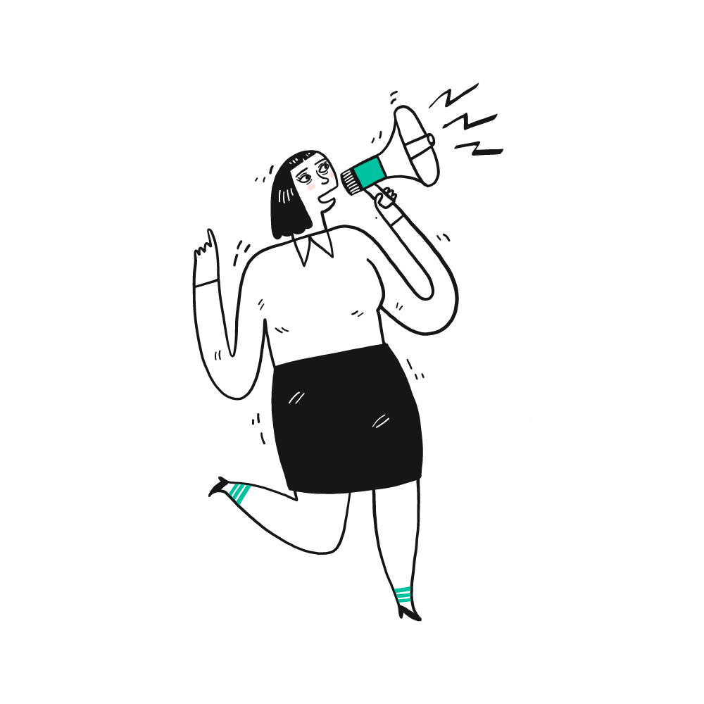 tekening van vrouw die door een luidspreker praat