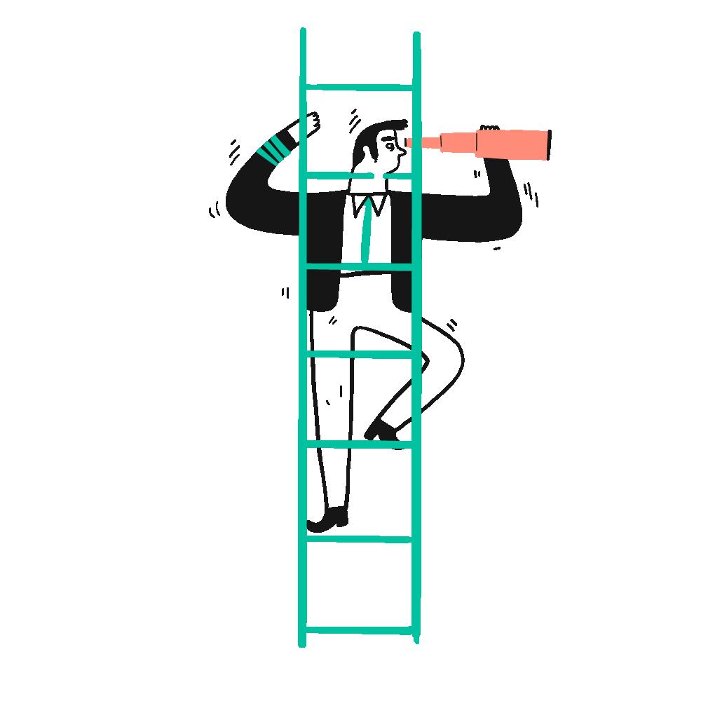 Tekening van man met verrekijker op een ladder